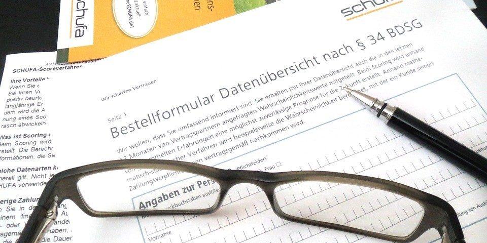 Schufa-Formular zur Datenübersicht