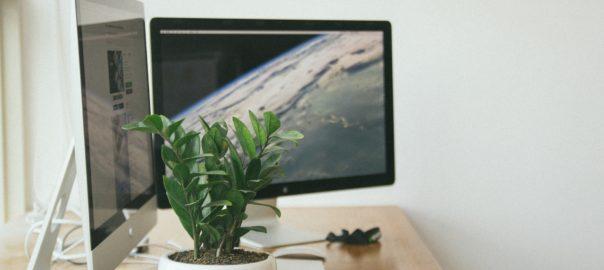 Schreibtisch mit 2 Monitoren