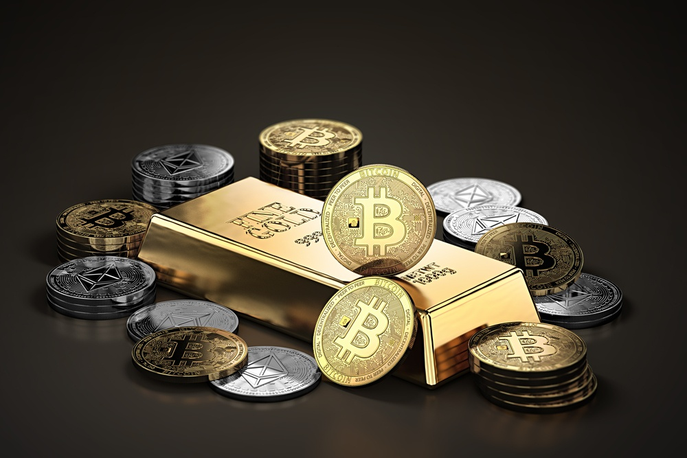Bitcoin und Goldbarren